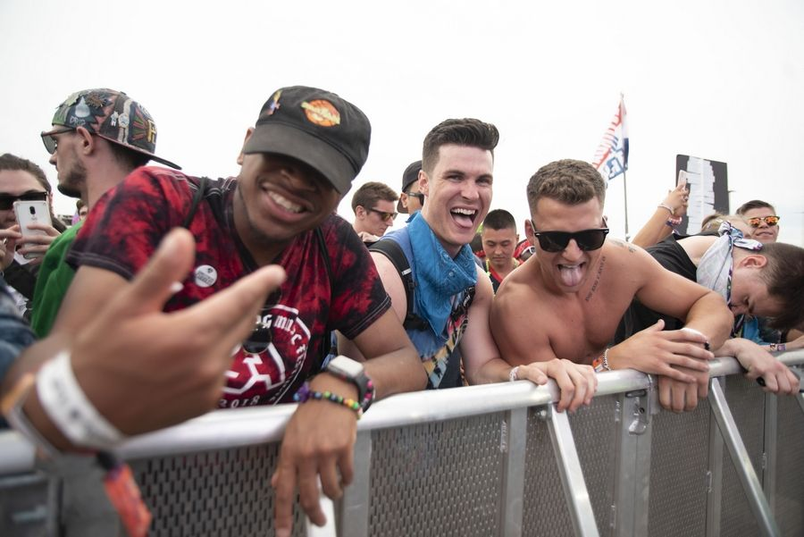 Festival goers dance during G Jones' set at Day 2 of Spring Awakening Music Festival on Saturday in Hoffman Estates.