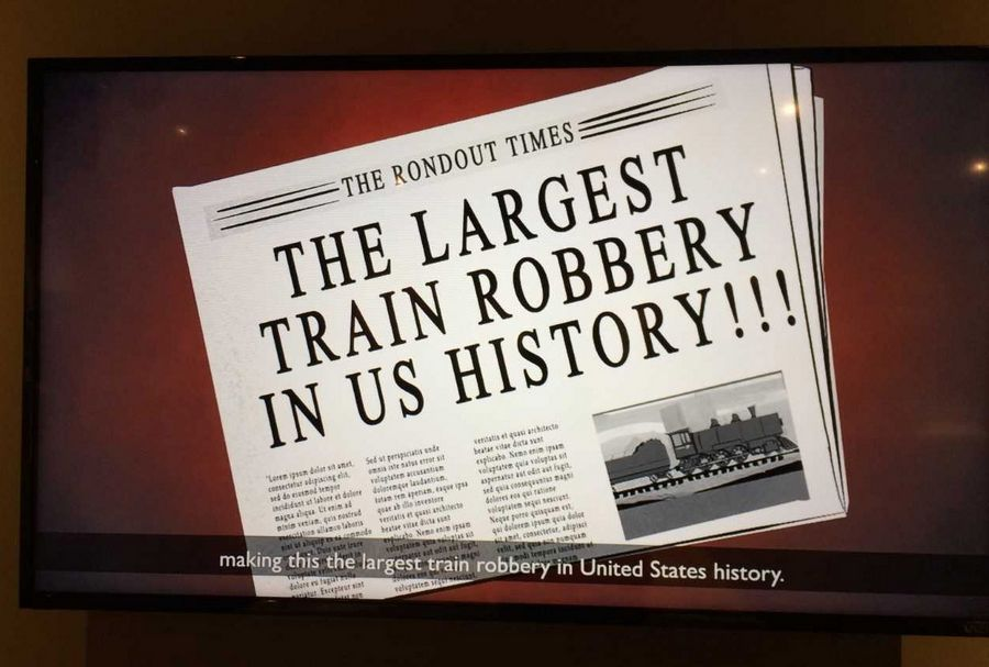 A still image from an animated video exhibit of the Rondout train robbery at Bess Bower Dunn Museum in Libertyville.