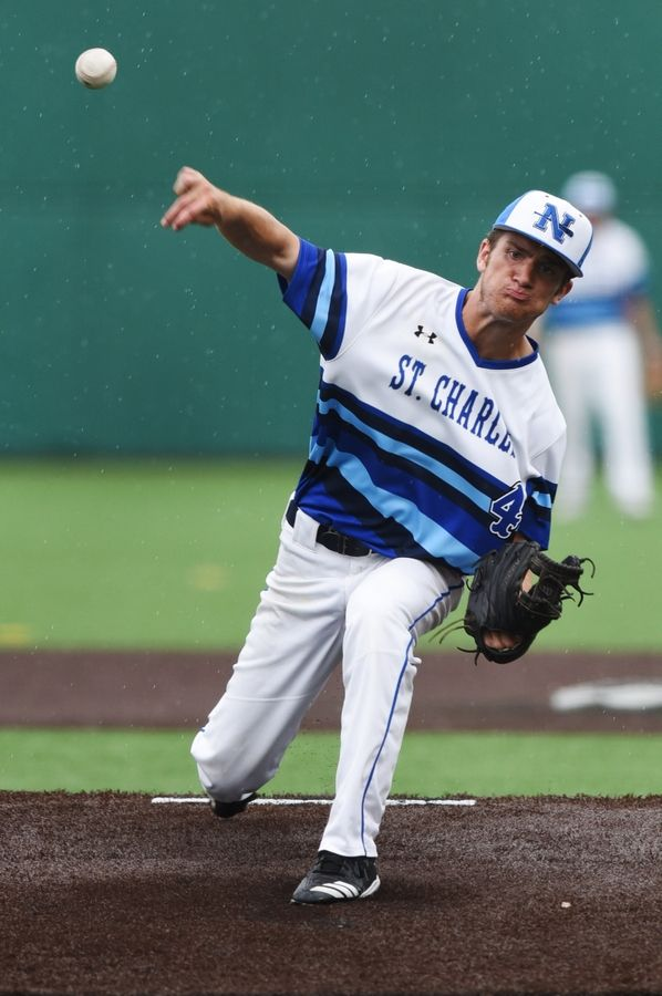 St. Charles North starting pitcher John Hamer delivers during the Class 4A state baseball championship game against Edwardsville in Joliet Saturday.