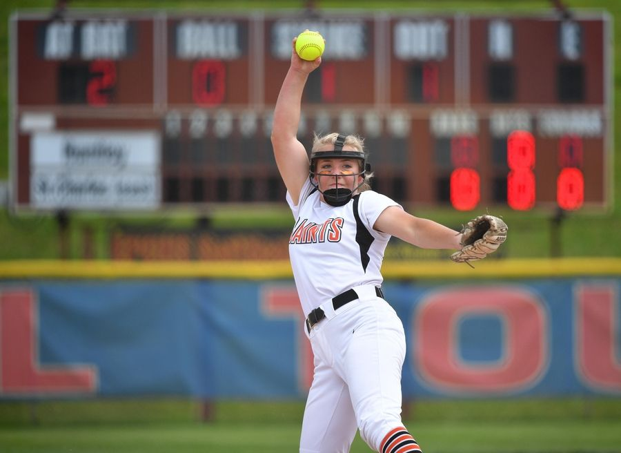 St. Charles East's Katie Arrambide pitches against Huntley in the Class 4A state softball final game in Peoria Saturday.
