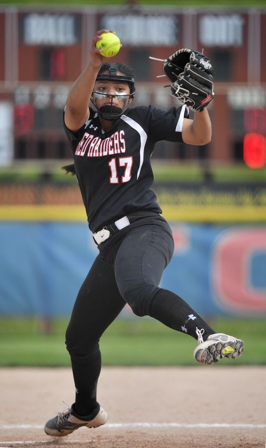 Huntley's Briana Bower pitches against St. Charles East in the Class 4A state softball final game in Peoria Saturday.