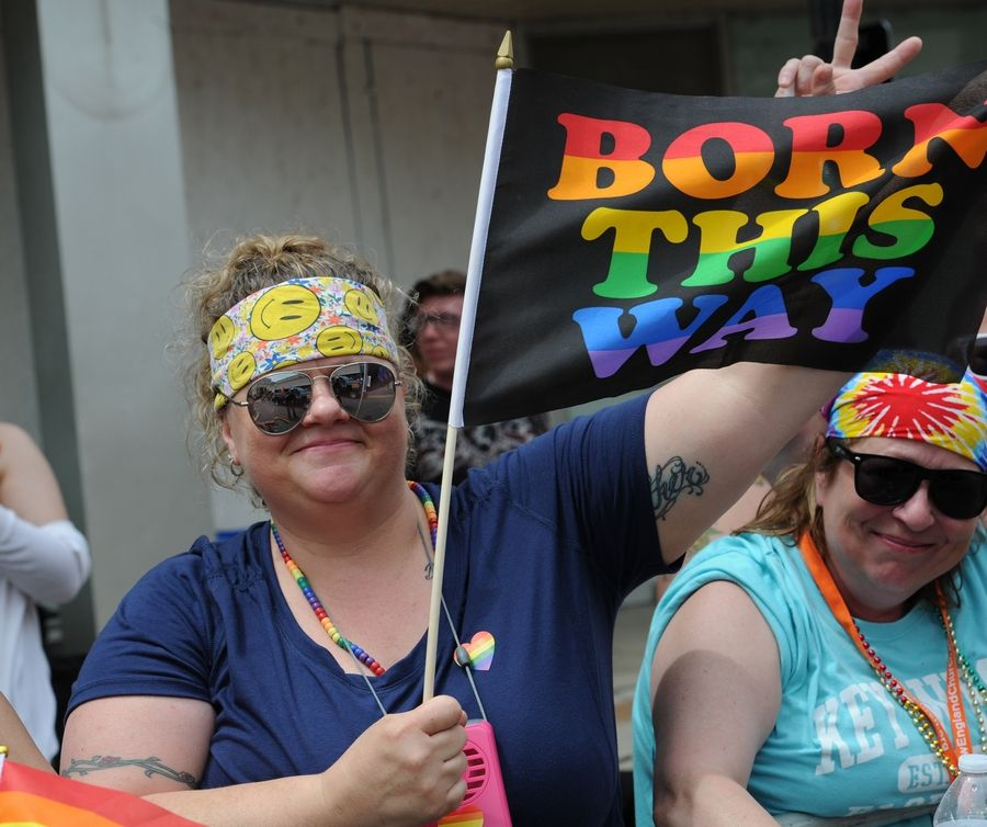 Tammy Johnson of Aurora shows her support Sunday at the second annual Aurora Pride Parade.