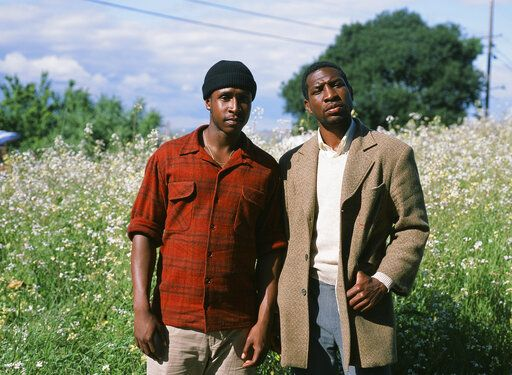 "This photo provided by A24 shows Jimmie Fails, left, who stars as Jimmie Fails and Jonathan Majors, right, as Montgomery Allen in ""The Last Black Man in San Francisco"", an A24 release. (Laila Bahman/A24 via AP)"