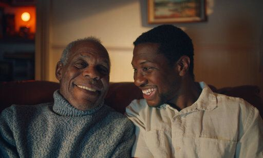 "This photo provided by A24 shows Danny Glover, left, starring as Grandpa Allen and Jonathan Majors, right, as Montgomery Allen in ""The Last Black Man in San Francisco"", an A24 release. (Photo Courtesy of A24 via AP)"