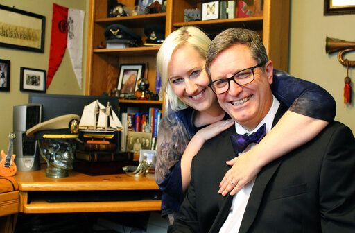 "Lance Geiger, better known as ""The History Guy,"" and his wife, Heidi Weichert, produce videos for a popular YouTube channel in the small basement office of their O'Fallon home.   (Teri Maddox/Belleville News-Democrat via AP)"
