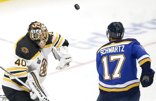 Boston Bruins goaltender Tuukka Rask (40), of Finland, blocks the puck as St. Louis Blues left wing Jaden Schwartz (17) closes in during the second period of Game 6 of the NHL hockey Stanley Cup Final Sunday, June 9, 2019, in St. Louis.