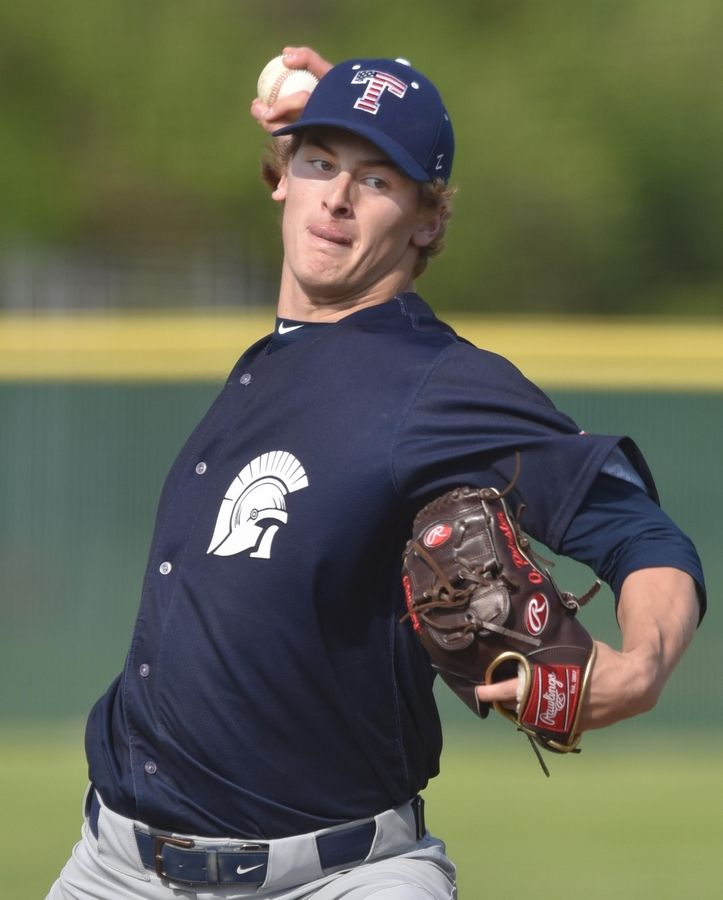 John Starks/jstarks@dailyherald.comCary-Grove pitcher Quinn Priester throws a changeup against Prairie Ridge.