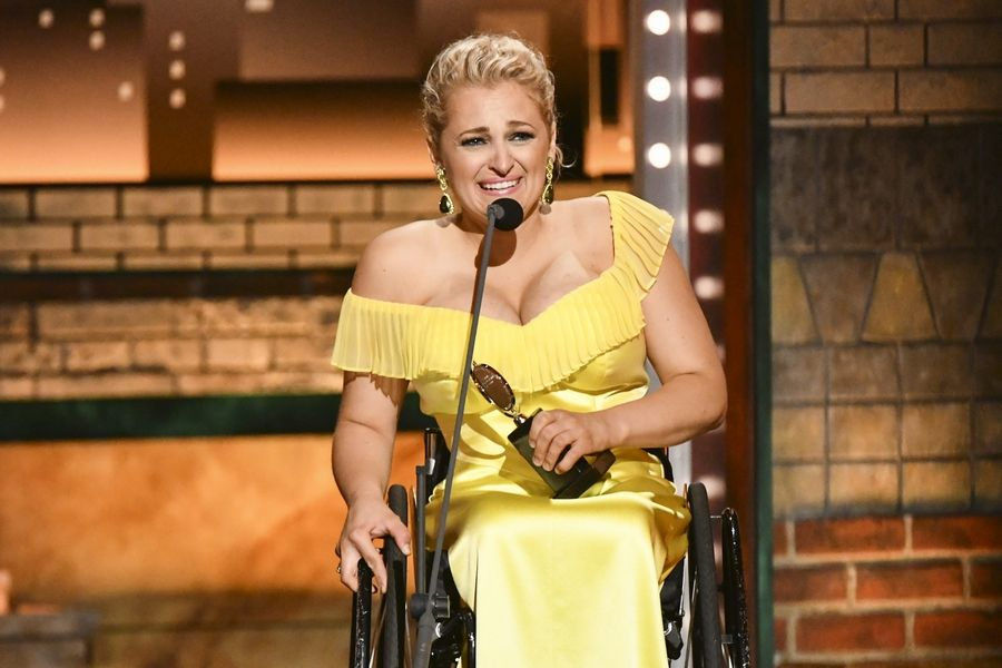 "Ali Stroker accepts the award for best performance by an actress in a featured role in a musical for ""Rodgers & Hammerstein's Oklahoma!"" at the 73rd annual Tony Awards at Radio City Music Hall on Sunday, June 9, 2019, in New York."