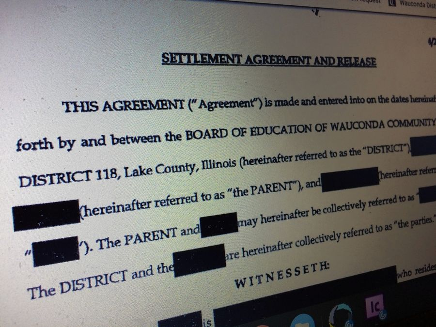 Wauconda Unit School District 118 trustees approved payments totaling $22,500 to a student's family last month but won't say why. A copy of the settlement agreement sent to the Daily Herald was heavily redacted.