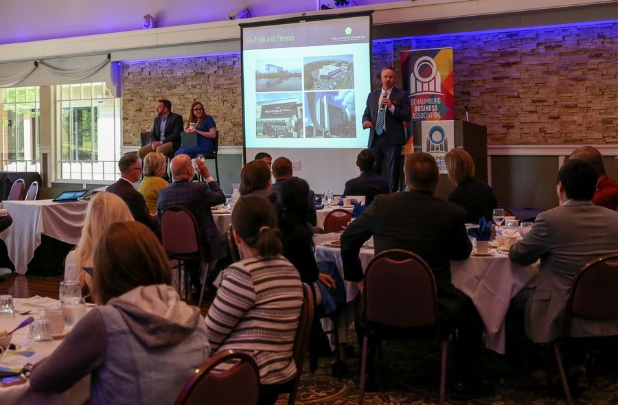 "Schaumburgs' business community gathered Tuesday to learn about the status of the local economy during the Schaumburg Business Association's ""Good Morning, Schaumburg!"" event."
