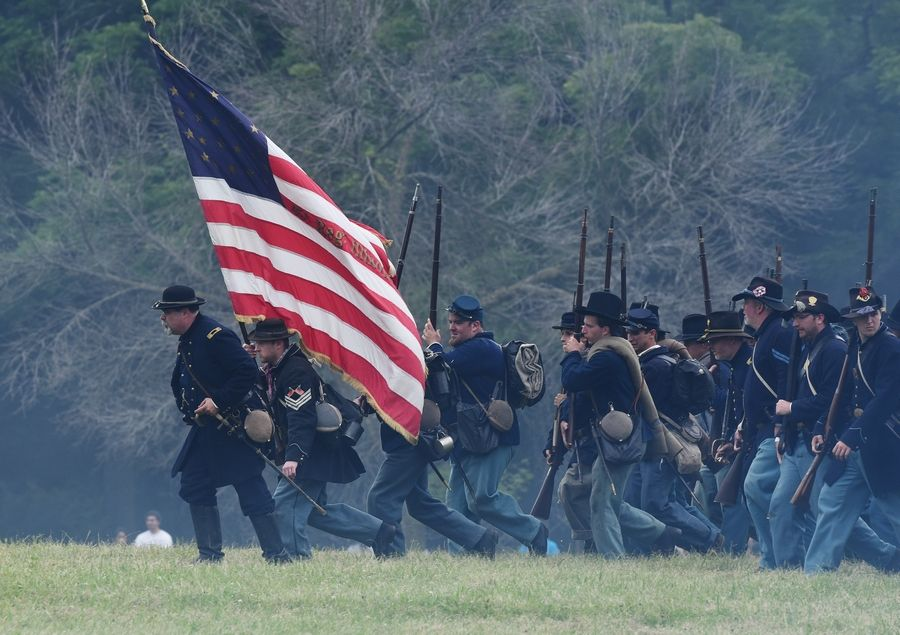 Union troops attack in a re-enactment of the Battle of Vicksburg during the 2015 edition of Civil War Days at Lakewood Forest Preserve near Wauconda. This year's event, scheduled for July 13-14, could be the last, according to county forest preserve leaders.