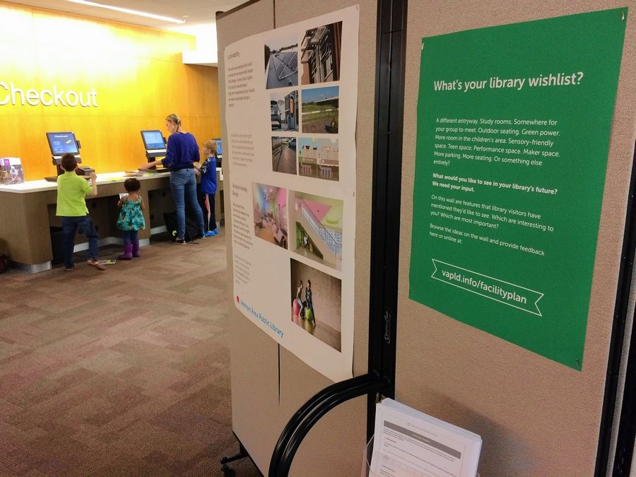 A five-sided display in the lobby of the Vernon Area Public Library features options that could be part of an expansion or renovation project.