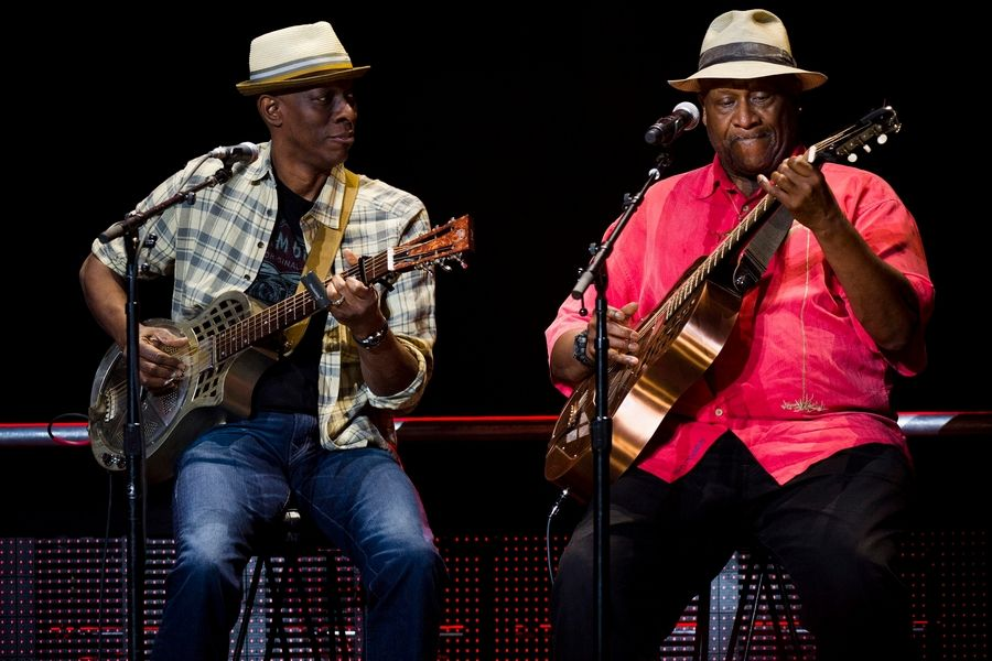 Taj Mahal, right, shown here with Keb Mo, will take the Blues on the Fox stage Friday night in Aurora.
