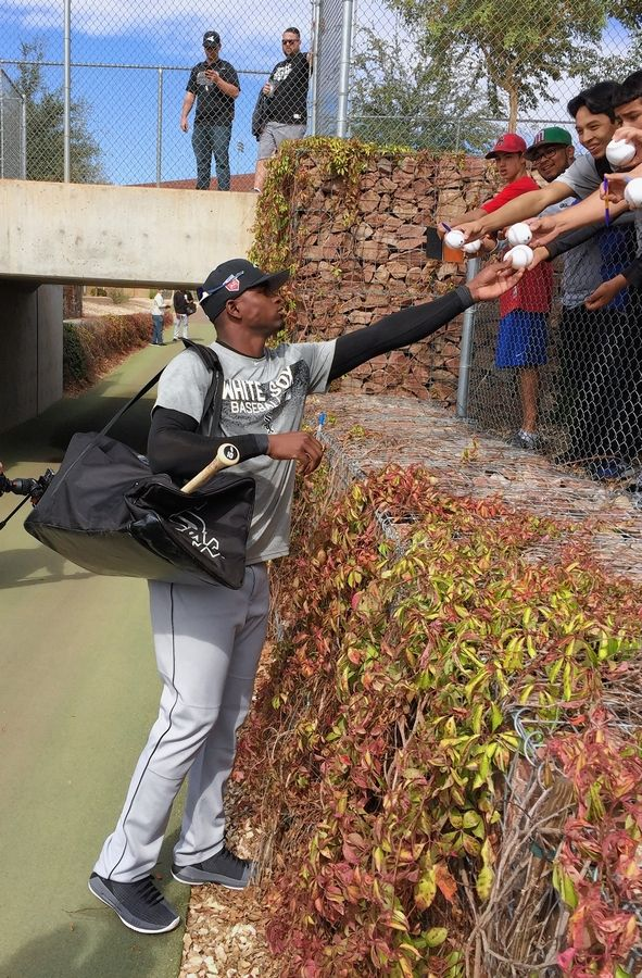 Outfielder Luis Robert, shown here during spring training this year, could be signing autographs for Chicago White Sox fans at Guaranteed Rate Field by the end of this season.
