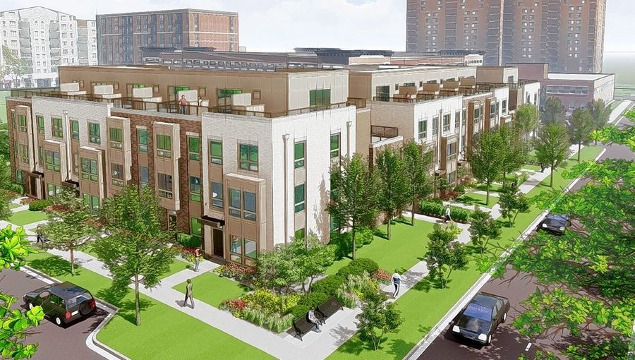 The Sigwalt 16 project calls for 16 row houses on the southern quarter of vacant Block 425 at Sigwalt Street and Chestnut Avenue in downtown Arlington Heights.