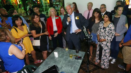 Senate Minority Leader Dick Saslaw, D-Fairfax, speaks to supporters at an election party in Springfield, Va., Tuesday, June 11, 2019. Saslaw won the race.
