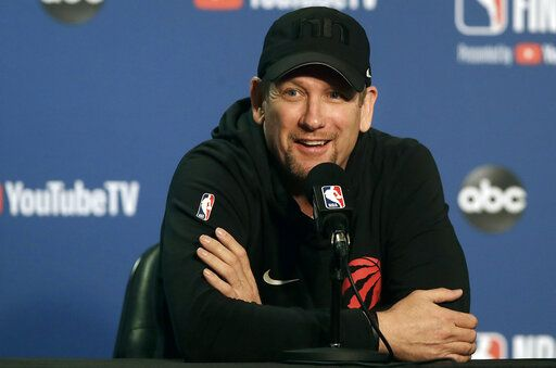 Toronto Raptors head coach Nick Nurse speaks to reporters before a team practice in Oakland, Calif., Wednesday, June 12, 2019. The Raptors are scheduled to play the Golden State Warriors in Game 6 of basketball's NBA Finals on Thursday.