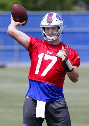 Buffalo Bills quarterback Josh Allen (17) throws a pass during an NFL football team practice Wednesday, June 12, 2019, in Orchard Park N.Y.