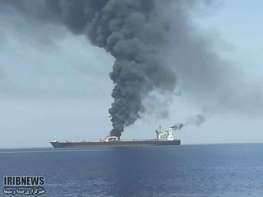 An oil tanker is on fire Thursday in the sea of Oman. Two oil tankers near the strategic Strait of Hormuz have been reportedly attacked. The alleged assault on Thursday left one ablaze and adrift as sailors were evacuated from both vessels. The U.S. Navy rushed to assist amid heightened tensions between Washington and Tehran.