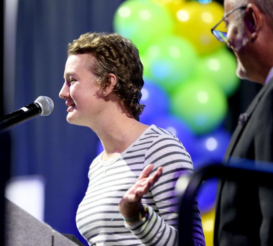 Abby Tonkery of Grayslake Central accepts an Overcoming Obstacles Award during the Daily Herald Prep Sports Excellence Awards at Sears Centre Arena in Hoffman Estates on Thursday night.