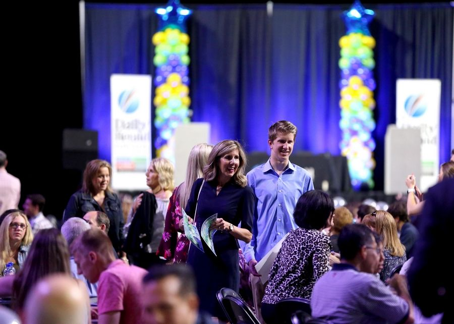 People gather during the Daily Herald Prep Sports Excellence Awards at Sears Centre Arena in Hoffman Estates on Thursday night.