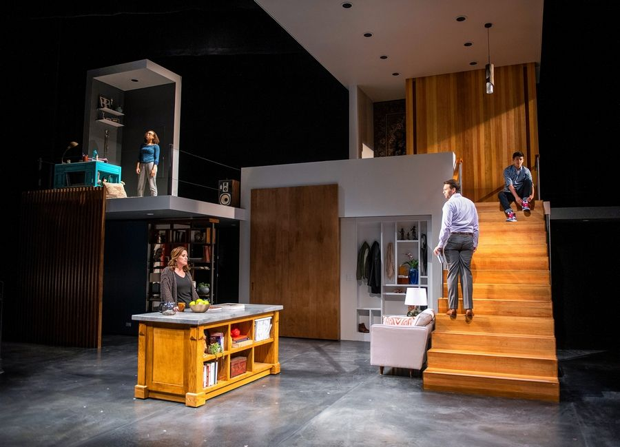 """Next to Normal"" at Writers Theatre in Glencoe has extended again to Sunday, June 30. The Pulitzer Prize-winning musical is about the troubled suburban Goodman family, and features from left: Kyrie Courter as Natalie, Keely Vasquez as Diana, David Schlumpf as Dan and Liam Oh as Gabe."