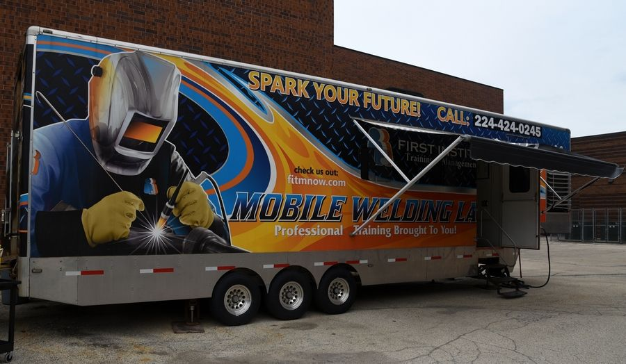 The welding program is offered in a First Institute trailer parked outside the jail.