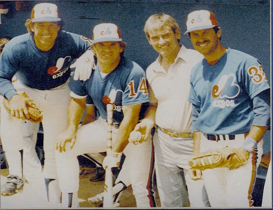 Mike Stenhouse poses with his father, Dave, along with Pete Rose and Gary Carter in 1984 while Mike was with the Montreal Expos.