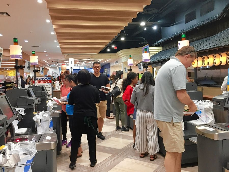 A self-checkout is among changes at Mitsuwa Marketplace's renovation celebration in Arlington Heights Saturday.