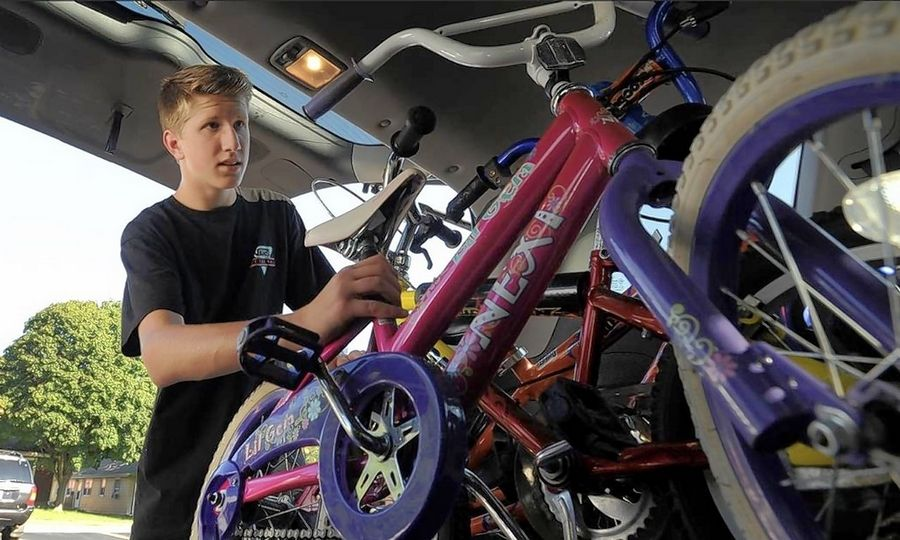 "Justin Lorenz hopes he can make a difference in the lives of underprivileged children. Last summer, he collected 80 donated bicycles at the Boys and Girls Clubs of Dundee Township. ""It was really just a great thing to be able to provide a gift of freedom,"" said Justin, 17."