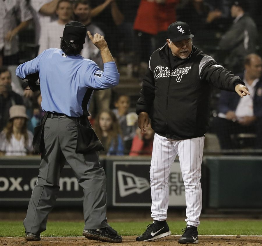 Chicago White Sox manager Rick Renteria, right, is ejected by home plate umpire Phil Cuzzi during the eighth inning of a baseball game against the New York Yankees in Chicago, Saturday, June 15, 2019.