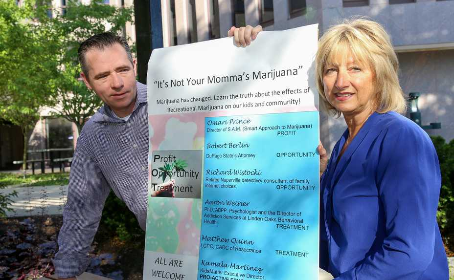 Naperville City Council members Patty Gustin and Kevin Coyne recently hosted a panel discussion about the new recreational marijuana law. They believe whether the city should allow shops selling the drug for recreational use will be a hot topic.
