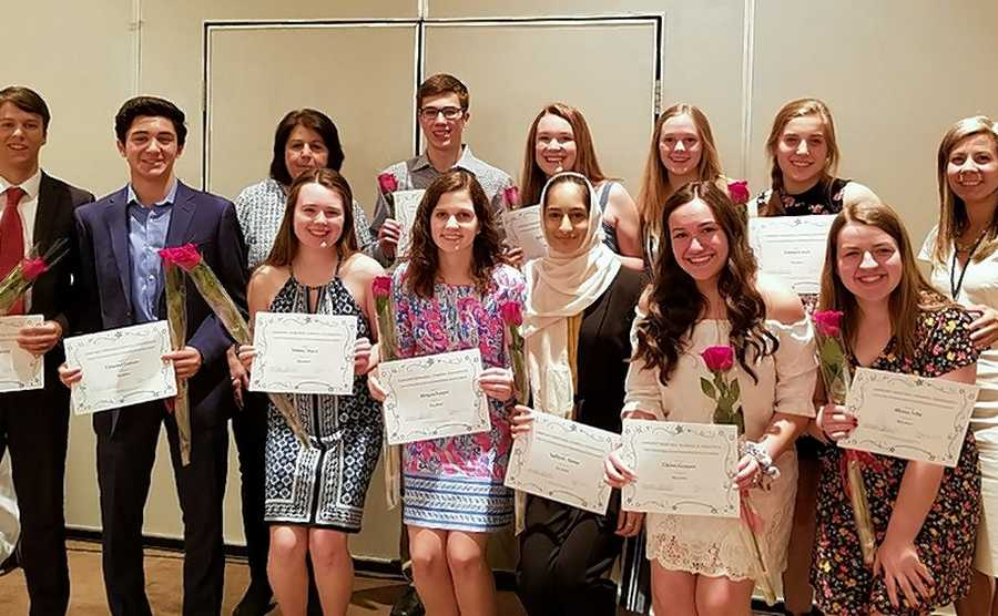 The Elmhurst Memorial Hospital Foundation recently awarded $28,000 in scholarships to area high school students who are volunteers at Elmhurst Hospital. Back row, from left: Thomas Bennett; Vincent Lococo; Dee Panek, Manager, Volunteer Services, Elmhurst Hospital; Jacob Paulaskas; Lillian Kraus; Olivia Brunke; Emma Czech; Susan Tyburski, Executive Director, Elmhurst Memorial Hospital Foundation. Front row, from left: Aileen Horn, Megan Foster, Safiyah Azeez, Chloe Gomez and Alyssa Irby. Not pictured: Alexander Boskov, Artemis Siavelis.