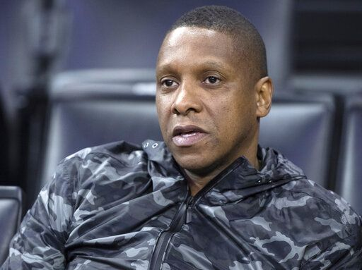 FILE - In this June 4, 2019, file photo, Toronto Raptors general manager Masai Ujiri watches practice at the NBA Finals in Oakland, Calif. An attorney for a deputy involved in an altercation with Ujiri as he tried to join his team on the court to celebrate their NBA championship, said his client suffered a concussion and is on medical leave. Attorney David Mastagni said Tuesday, June 18, 2019, the 20-year-veteran of the Alameda County Sheriff's Office has a jaw injury and is considering filing a lawsuit. (Frank Gunn/The Canadian Press via AP, File)