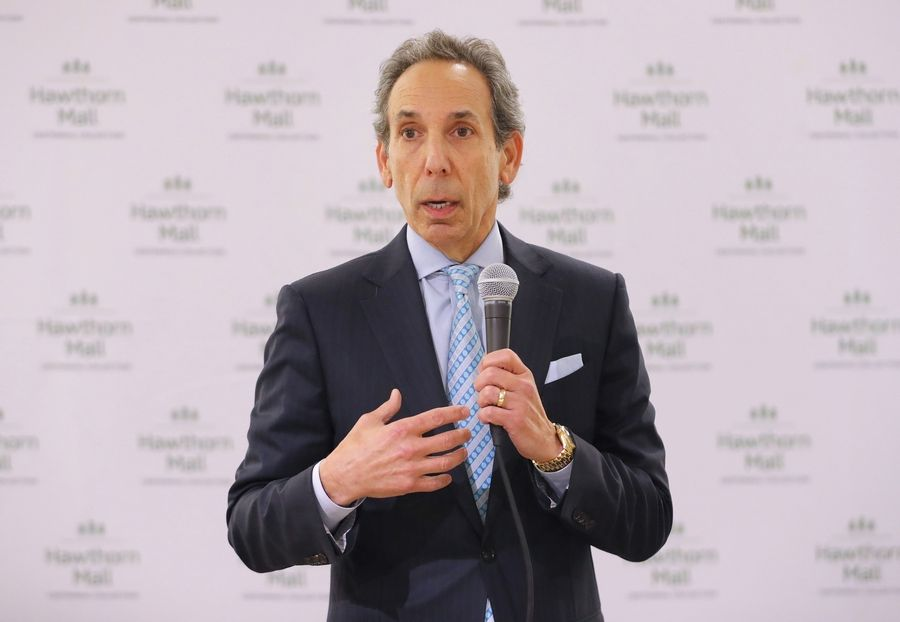 Steven Levin, CEO of Centennial Real Estate, hosts a town-hall meeting Tuesday on a proposed redevelopment of Hawthorn Mall to include apartments, restaurants, outdoor gathering spaces and other amenities in Vernon Hills.