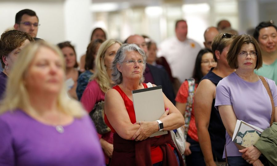 Concerned residents showed up for a town-hall meeting Tuesday at Hawthorn Mall in Vernon Hills to find out about a proposed redevelopment of the mall property.