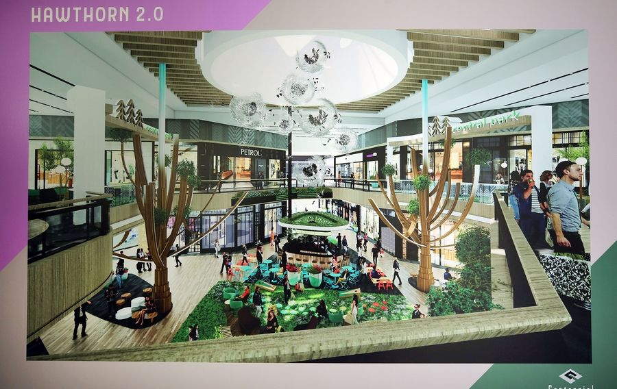 This is an artist's rendering of the proposed redevelopment at Hawthorn Mall.