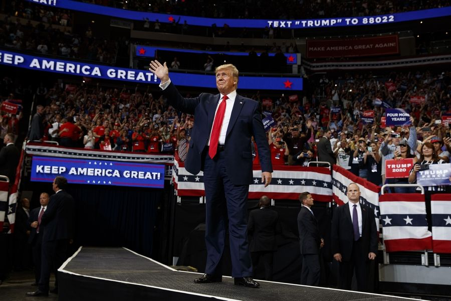 President Donald Trump arrives to speak at his re-election kickoff rally at the Amway Center, Tuesday, June 18, 2019, in Orlando, Fla.