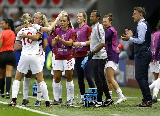 England head coach Philip Neville, right, applaudes as England's scorer Ellen White, left, and her teammates celebrate the opening goal during the Women's World Cup Group D soccer match between Japan and England at the Stade de Nice in Nice, France, Wednesday, June 19, 2019.