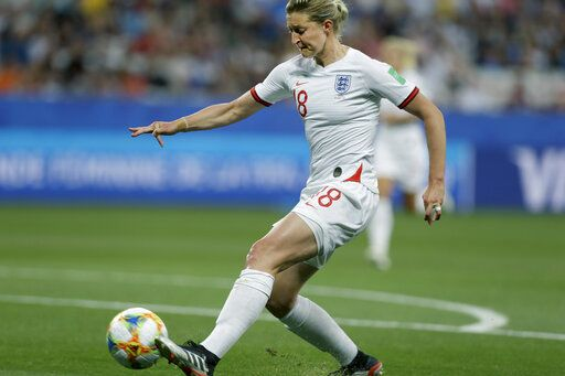 England's Ellen White scores the opening goal during the Women's World Cup Group D soccer match between Japan and England at the Stade de Nice in Nice, France, Wednesday, June 19, 2019.