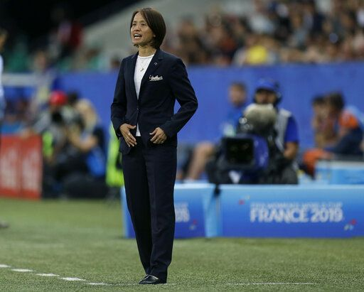 Japan coach Asako Takakura shouts during the Women's World Cup Group D soccer match between Japan and England at the Stade de Nice in Nice, France, Wednesday, June 19, 2019.