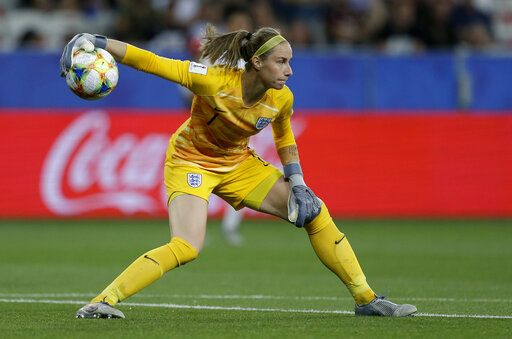 England goalkeeper Karen Bardsley plays the ball during the Women's World Cup Group D soccer match between Japan and England at the Stade de Nice in Nice, France, Wednesday, June 19, 2019.