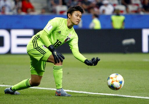 Japan goalkeeper Ayaka Yamashita plays the ball during the Women's World Cup Group D soccer match between Japan and England at the Stade de Nice in Nice, France, Wednesday, June 19, 2019.
