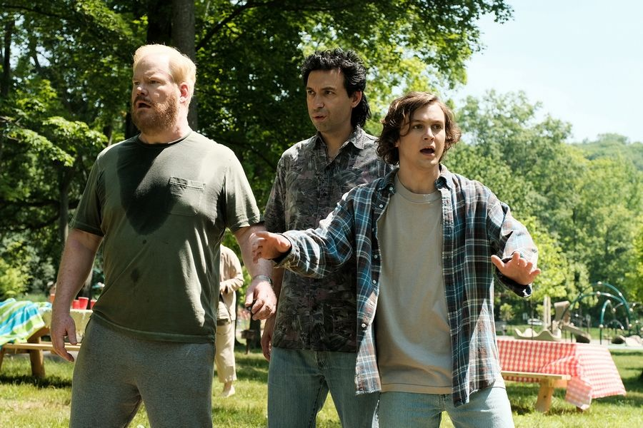 "Philip (Logan Miller), right, discovers his father (Jim Gaffigan), left, is juggling two families in ""Being Frank."""