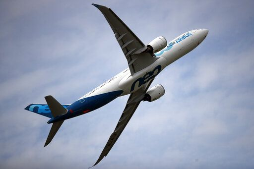 An Airbus A330 performs a demonstration flight at Paris Air Show, in Le Bourget, north east of Paris, France, Tuesday, June 18, 2019. The world's aviation elite are gathering at the Paris Air Show with safety concerns on many minds after two crashes of the popular Boeing 737 Max.