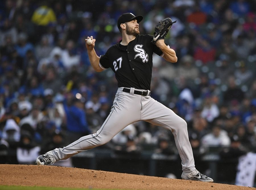 Chicago White Sox starter Lucas Giolito delivers a pitch during the first inning of the team's baseball game against the Chicago Cubs on Wednesday, June 19, 2019, at Wrigley Field in Chicago.