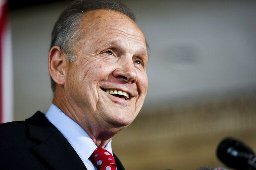 Former Alabama Chief Justice Roy Moore smiles as he announces his run for the republican nomination for U.S. Senate, Thursday, June 20, 2019, in Montgomery, Ala.