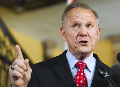 Former Alabama Chief Justice Roy Moore announces his run for the republican nomination for U.S. Senate Thursday, June 20, 2019, in Montgomery, Ala.