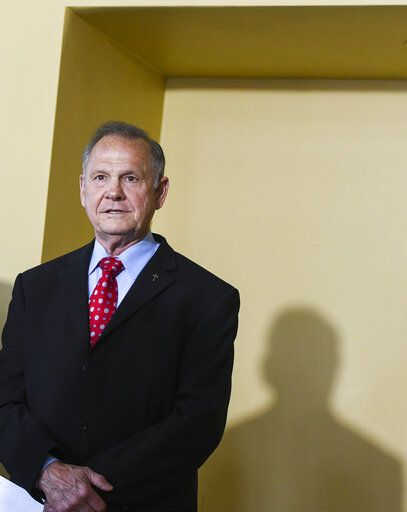 Former Alabama Chief Justice Roy Moore announces his run for the republican nomination for U.S. Senate, Thursday, June 20, 2019, in Montgomery, Ala.