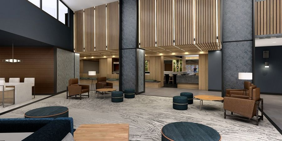 A rendering of the lobby of the Chicago Marriott Schaumburg as it will appear after this summer's extensive renovation of the hotel.